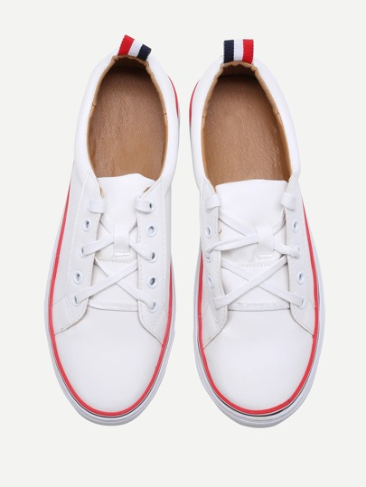 Contrasto Bianco Trim Lace Up scarpe da tennis