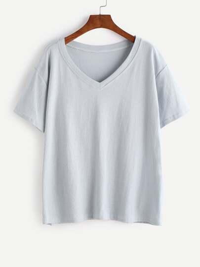 Camiseta básica con cuello en V - azul claro