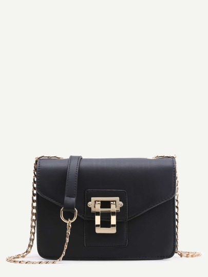 Contrast Lock Flap Shoulder Bag