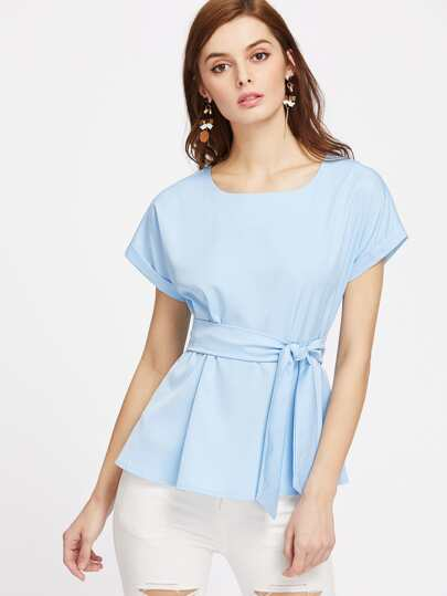 Roll Cuff Zip Back Belted Top