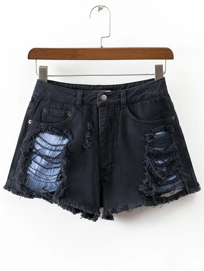 Black Striped Ripped Detail Shorts
