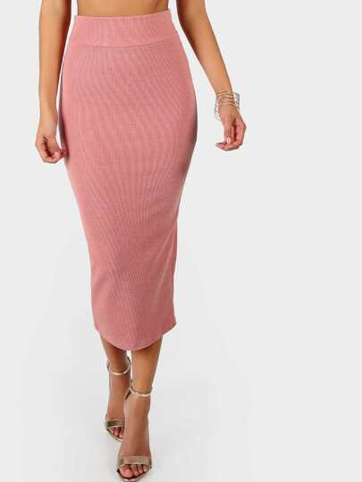 Ribbed Midi Skirt BLUSH