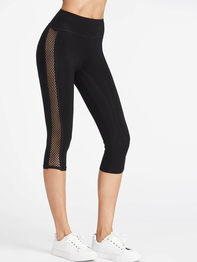 Fishnet Insert Side Crop Leggings