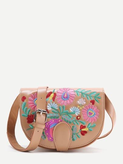 Khaki Flower Embroidery PU Saddle Bag