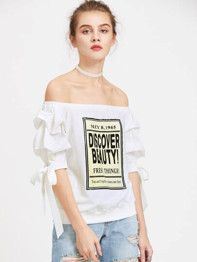 Graphic Print Bow Tie Ruched Sleeve Bardot T-shirt