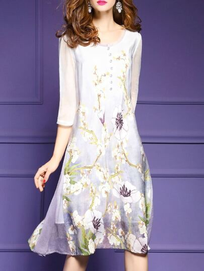 White Flowers Print Shift Dress