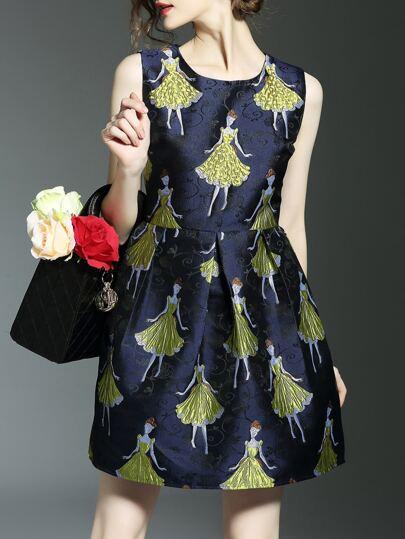 A-Linie Kleid mit Charaktermuster und Jacquard - schwarz