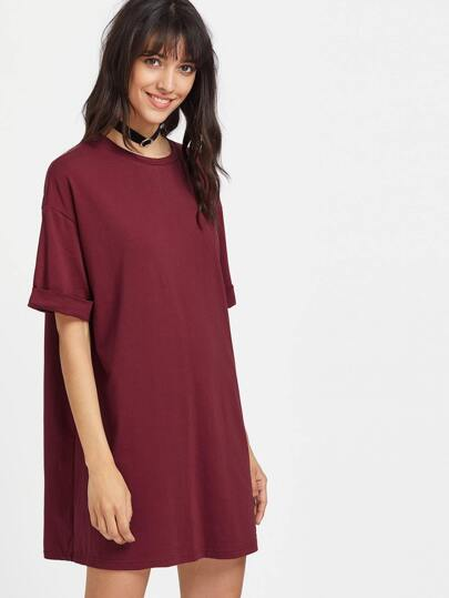 Wind Red Drop Shoulder Roll Cuff Tee Dress