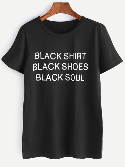 Le lettere nere T-shirt stampata