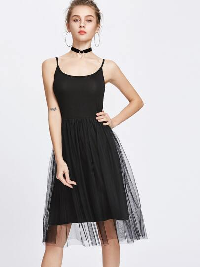 Black Sheer Mesh Layered Slip Dress