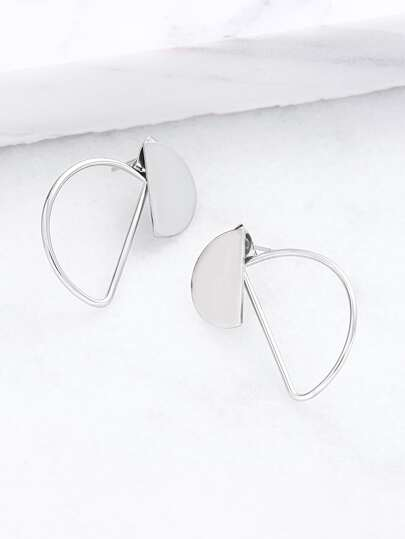 Silver Cutout Half Circle Stud Earrings