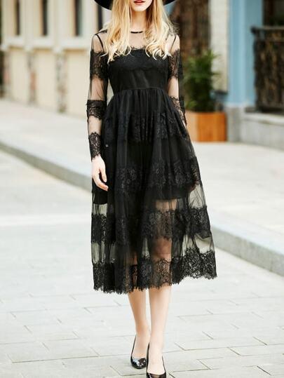 Vestido fino Maxi de encaje con tul-negro