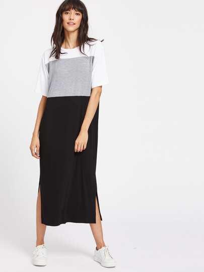 Vestido estilo camiseta con abertura lateral de color combinado