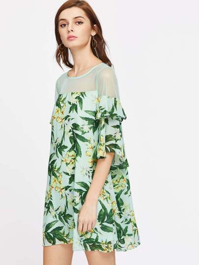 Palm Leaf Print Sheer Shoulder Ruffle Sleeve Dress