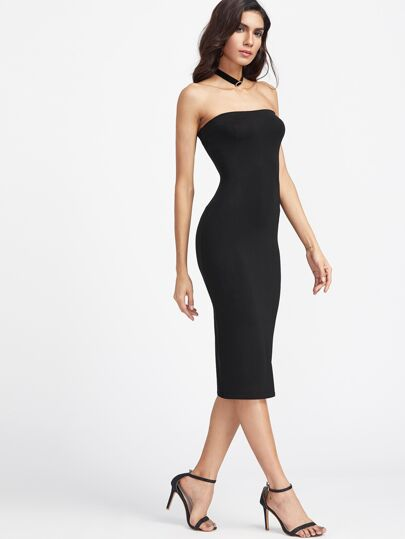 Bandeau Midi Bodycon Dress