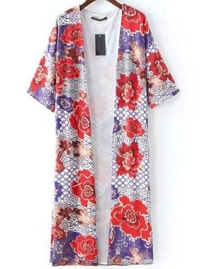 Multicolor Floral Print Open Front Cardigan