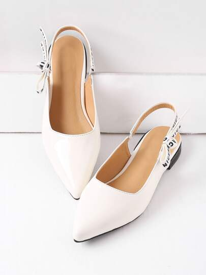 White Point Toe Sling Retour en cuir verni Flats