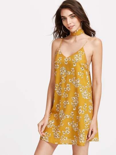 Mustard Flower Print Textured Cami Dress With Neck Tie