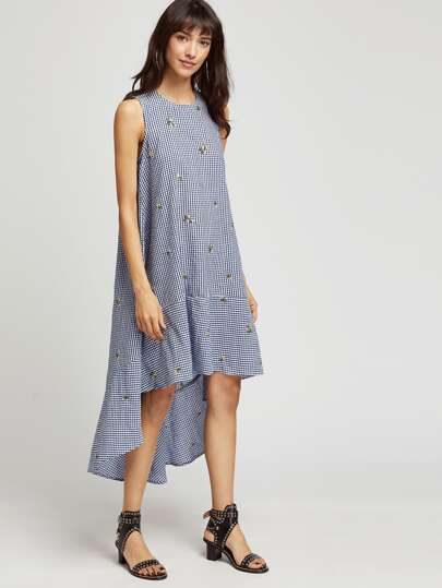 Embroidered Dip Hem Checkered Trapeze Dress