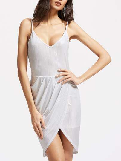 Coated Ruched Overlap Front Open Back Cami Dress