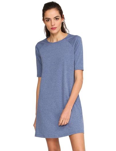 Blue Round Neck Inch Half Sleeve Loose Dress