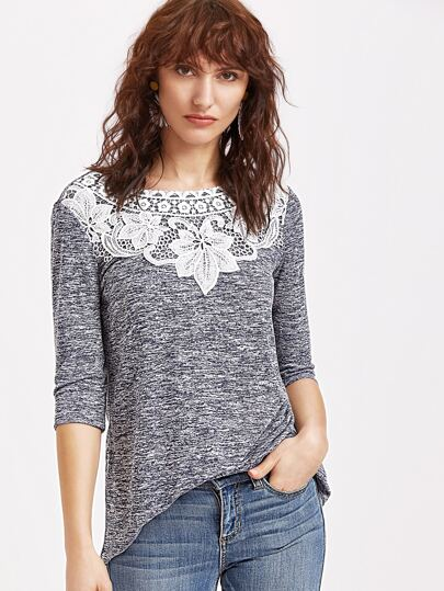 Contrast Crochet Applique 3/4 Sleeve T-shirt