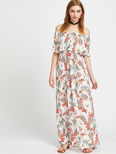 Flounce Layered Neckline Tropical Print Dress