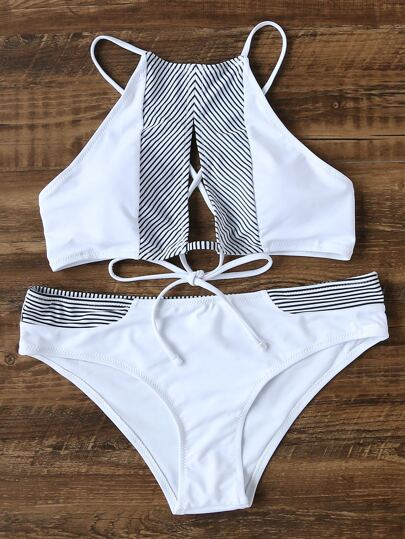 Pinstrip Detail Lace Up Cutout Front Bikini Set