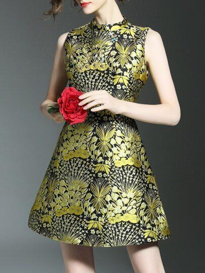 A-Linie Kleid mit Beads und Blumenjacquard - multifarbe