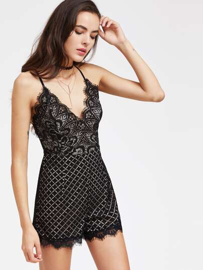 Spaghetti Strap Scalloped Trim Lace Romper