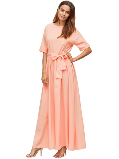 Pink Tie Front Detail Maxi Dress