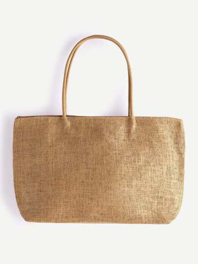 Khaki Beach Style Straw Tote Bag