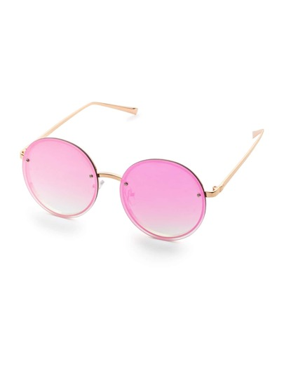 Gold Frame Flat Purple Round Lens Sunglasses