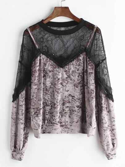 Contrast Sheer Lace Shoulder Crushed Velvet Sweatshirt