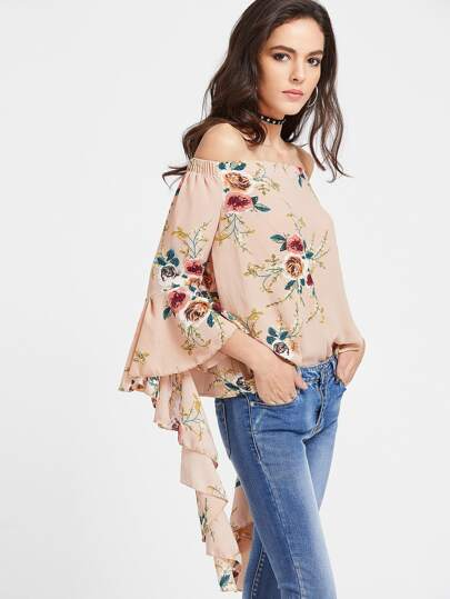 Bardot Floral Print Bell Sleeve Top