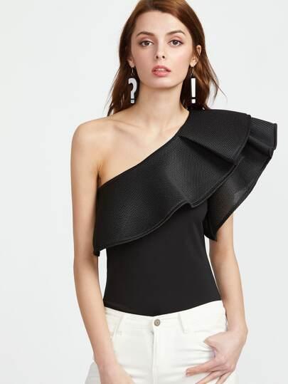 Чёрное модное боди на одно плечо со сборкой