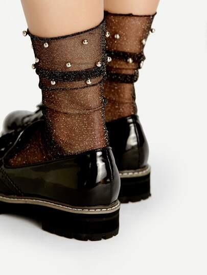 Beaded Design Glitter Mesh Ankle Socks