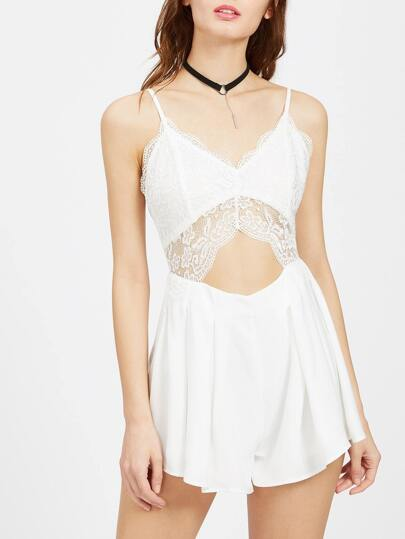 Lace Overlay Cutout Midriff Pleated Cami Romper