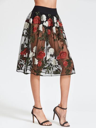 Falda con bordado de rosa de malla - negro