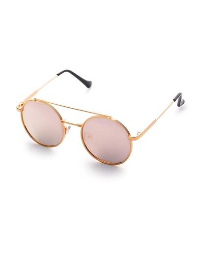 Gafas de sol redondas doble puente con lentes planos rosa