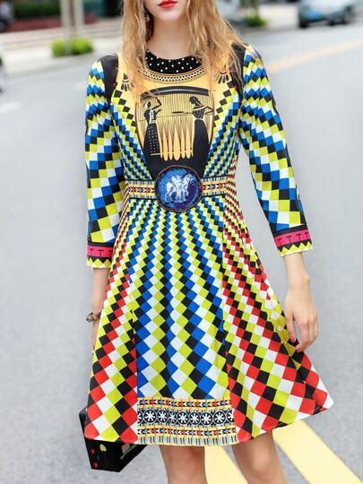 Vestido línea A estampado geométrico de color block