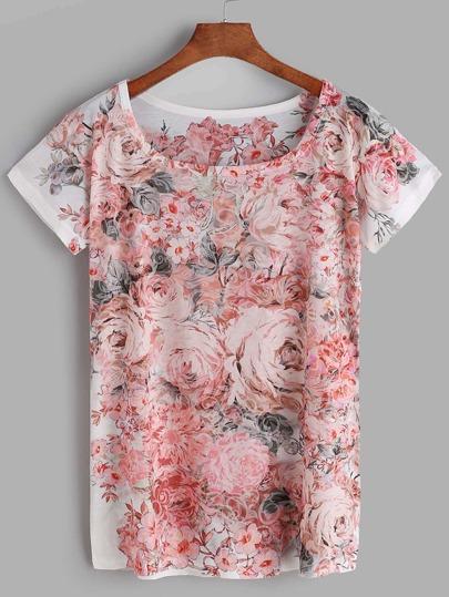 Florals Print Short Sleeve T-shirt