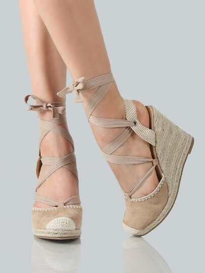 Lace Up Espadrilles Wedges NATURAL CANVAS