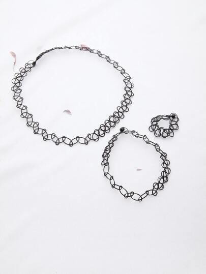 Black Hollow Out Necklace Bracelet And Ring