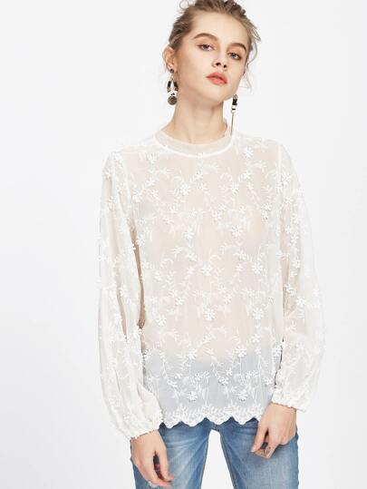 Lantern Sleeve Scalloped Flower Applique Embroidered Top