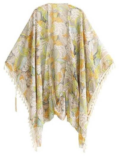 Floral Kimono In Chiffon With Fringe