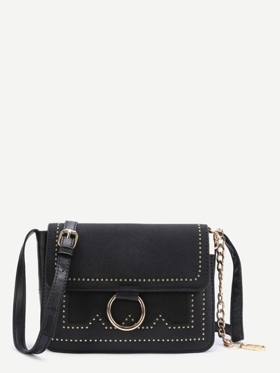 Black Ring Detail Flap Shoulder Bag