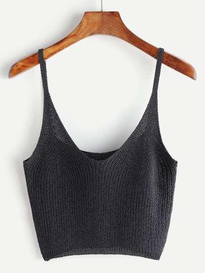 Grey Crop Knit Cami Top