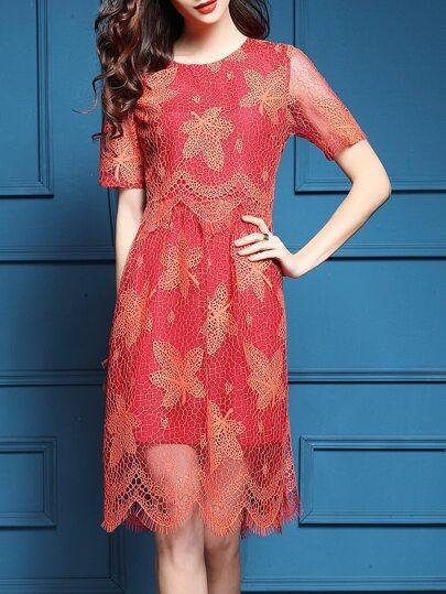 Red Sheer Crochet Hollow A-Line Dress