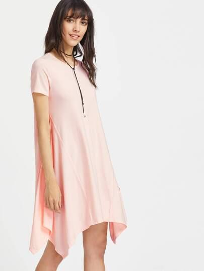 Asymmetrische Kurzarmkleid - pink